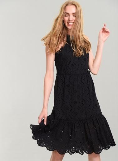 Agenda Askılı Brode Elbise Siyah